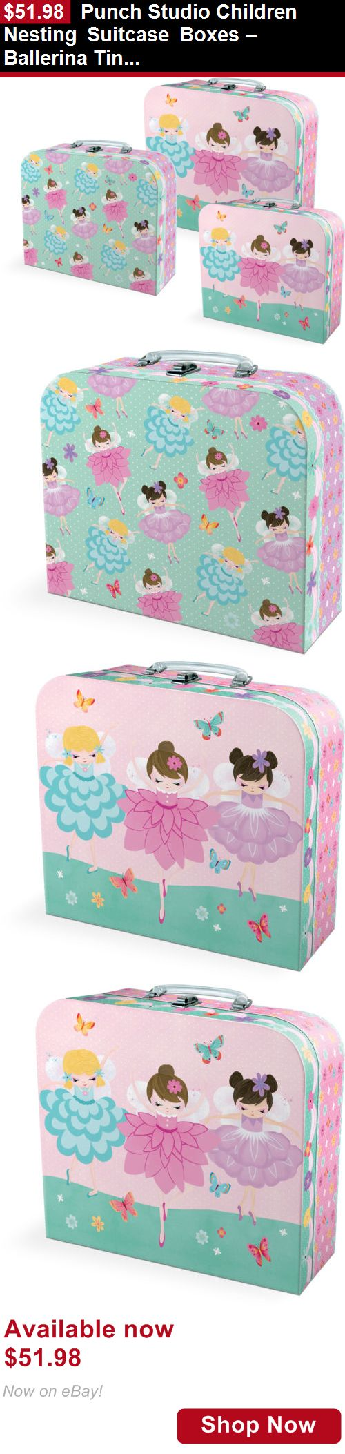 Baby Boxes And Storage: Punch Studio Children Nesting Suitcase Boxes – Ballerina Tiny Dancers 43304N BUY IT NOW ONLY: $51.98