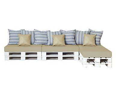 Divano modulare a chaise lounge con cuscini bianco e beige