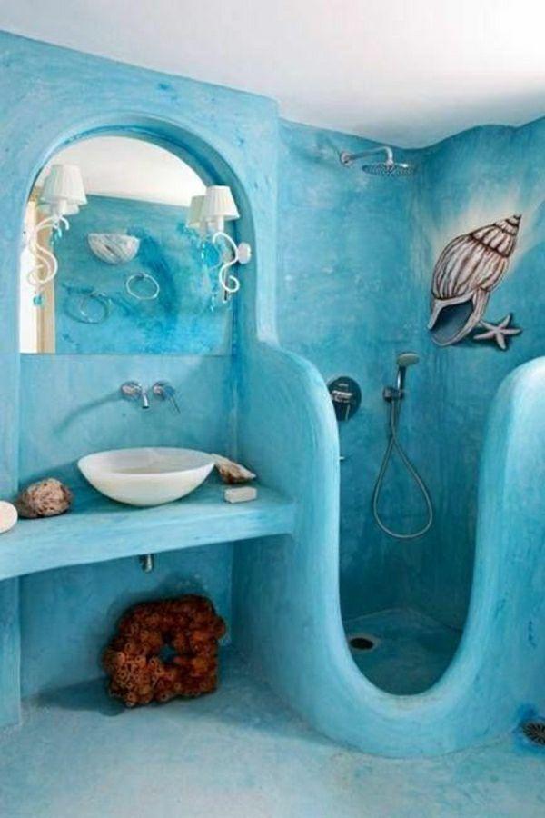 Elegant Kreative Ausstattung Und Blaue Wandfarne Für Bad Mit Dusche   21  Eigenartige Ideen U2013 Bad Mit