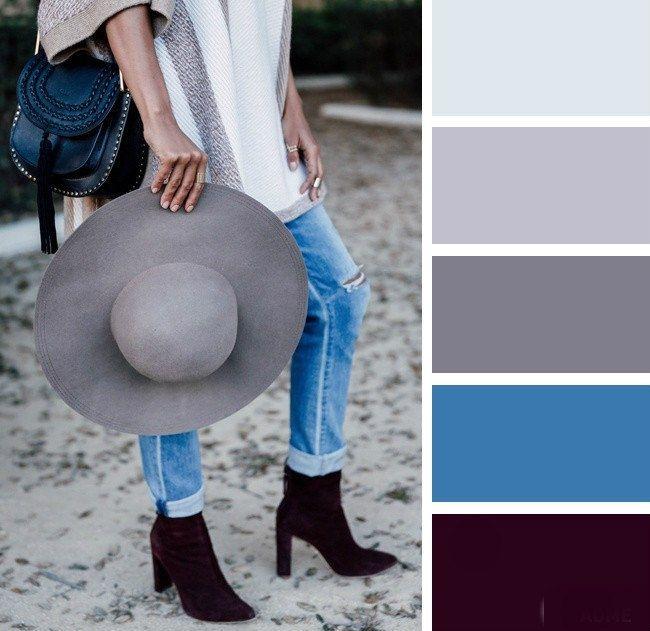 Color combination | Vine | Blue  | Grey | Wheel | Fashion color idea