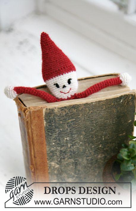 "Christmas gift idea for the #bookworm: Crochet DROPS Christmas Santa book mark in ""Alpaca"". ~ DROPS Design"
