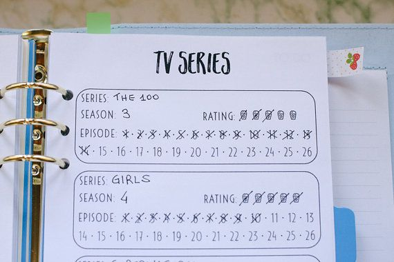 **This is an INSTANT DOWNLOAD** No printed materials will be shipped. Keep track of your tv series with this template (ノ◕ヮ◕)ノ*:・゚✧ Perfect for