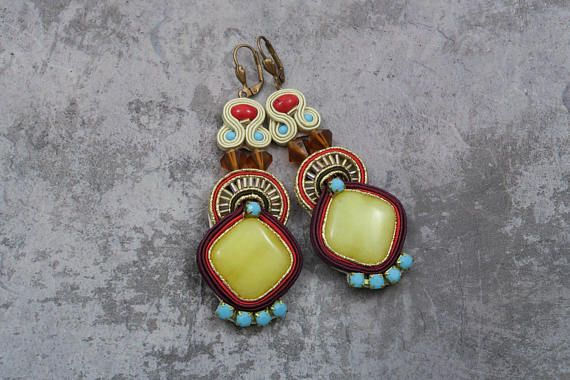 Check out this item in my Etsy shop https://www.etsy.com/listing/593376231/long-soutache-earrings-with-jades