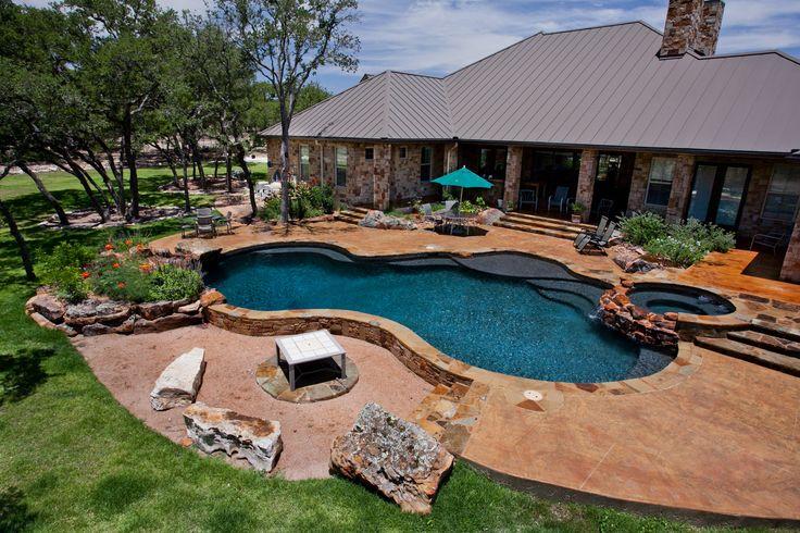 Oklahoma flagstone pool out back pool shapes custom for Pool design okc