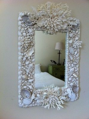seashell mirror, coral mirror, shell mirror, beach house mirror, designer mirror, coastal mirror, seashell and coral mirror