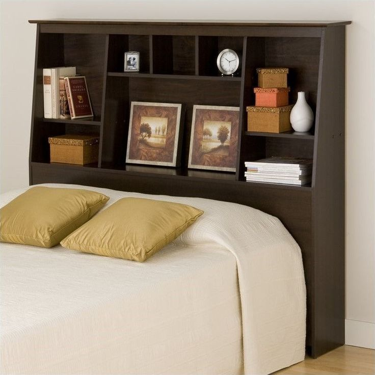 Lowest price online on all Slant-Back Tall Full Queen Bookcase Headboard in…