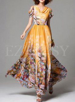 Shop for high quality Fashion Digital Print Chiffon Beach Dress online at cheap prices and discover fashion at Ezpopsy.com