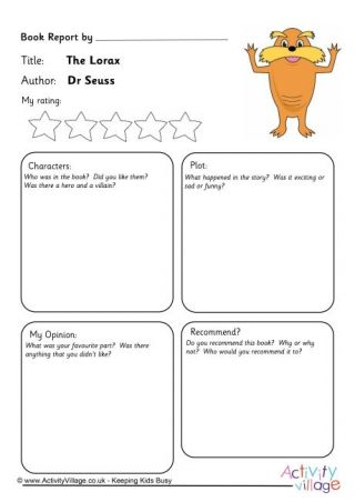 The Lorax Book Report