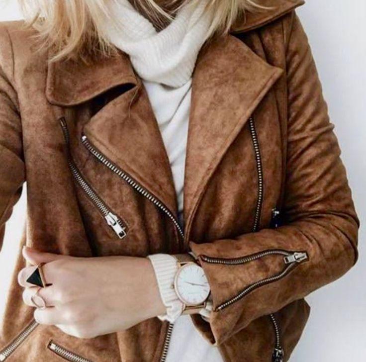 коричневая замшевая куртка с чем носить фото сто