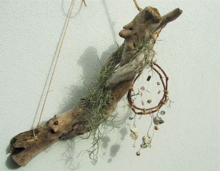 """Tillandsia and driftwood """"Night King"""" with dream catcher by DriftwoodDecorByBeth on Etsy"""