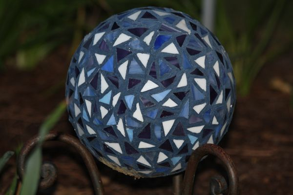 Gazing ball I made using an old bowling ball and stained glass
