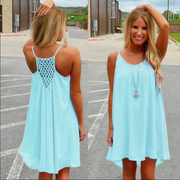 mint bathing suit cover up dress •size: medium    •features: mint/teal/light blue. very lightweight flowy dress. has two layers of fabric   •no trades  ⚠️ if this item does not fit you CANNOT return it - poshmark policy   ❗️ all sales are FINAL B-Long Boutique  Swim Coverups