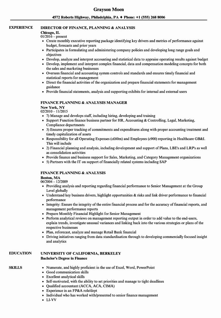 Financial planning and analysis resume new finance