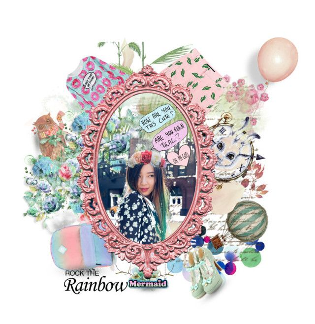 """Rock The Rainbow Green"" by tinaradu on Polyvore featuring Cole & Son, WithChic, American Retro, Vans and rainbowhair"