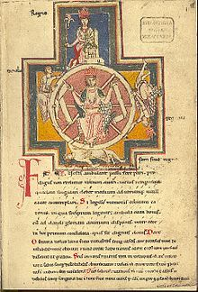 Fortuna governs the circle of the four stages of life, the Wheel of Fortune, in a manuscript of Carmina Burana