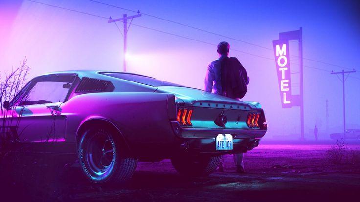 Retrowave Mustang wallpaper   Mustang wallpaper, Retro ...
