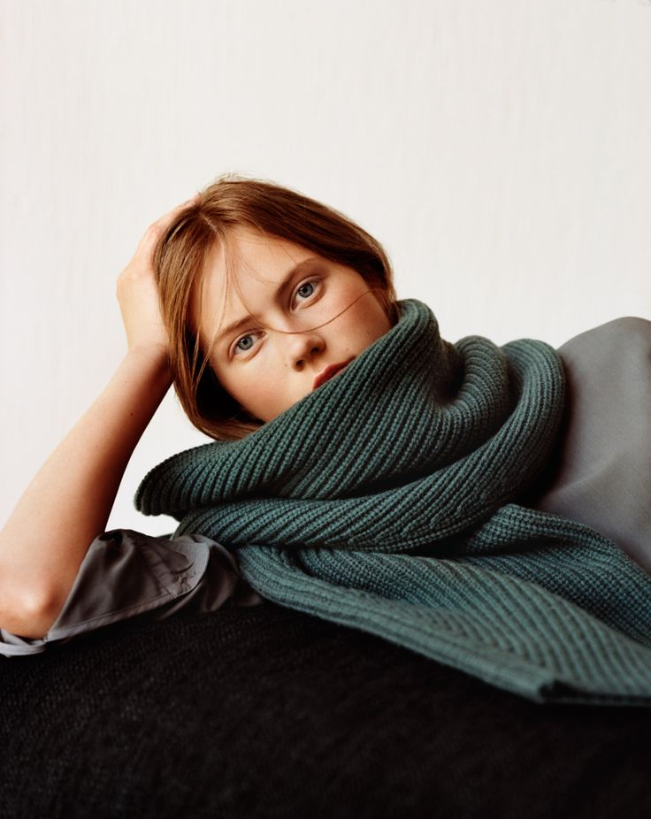 Ginger in a green scarf. | Julie Hoomans photographed by Alasdair McLellan for Uniqlo and Lemaire. | Pinned via Her New Tribe