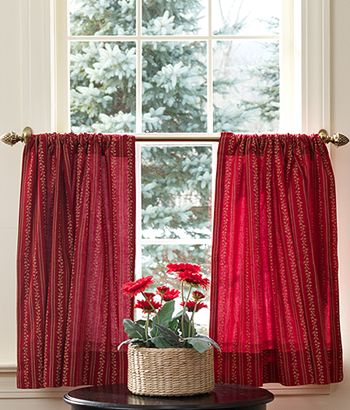 Gypsy Floral Tier Curtains, Red Café Cutains, Red Kitchen Curtains   Country  Curtains®