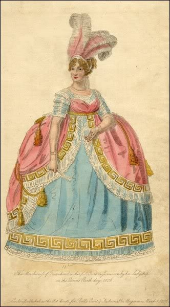 That dreadful fashion moment when waistlines were high, but formal dress for Court still required hoops. 1806 Marchioness of Townshend in La Belle Assemblee