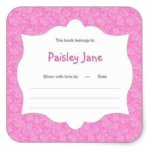Hot Pink Damask Girl Book baby shower Bookplate
