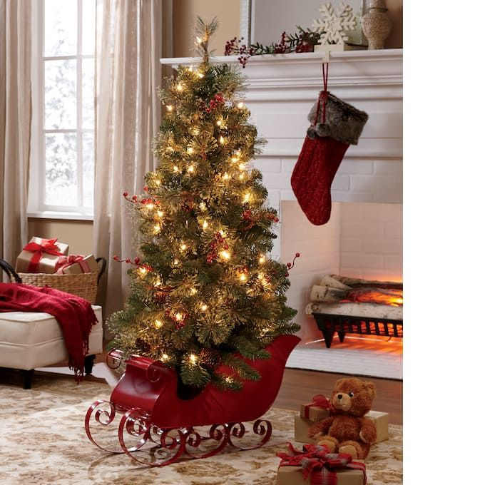 4 Ft Tree In Red Sled Small Christmas Trees 4ft Christmas Tree Christmas Decorations