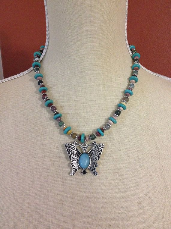 Boho beaded butterfly necklace by Jameesbitsandbobs on Etsy