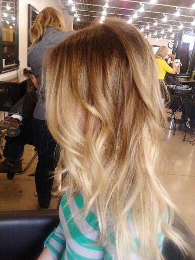 pretty blonde ombre colored hair.