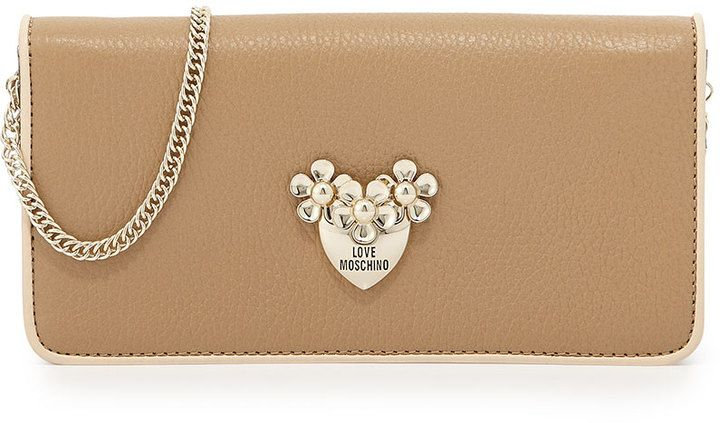Neiman Marcus...45% OFF  - CHECK IT OUT!!!!! Love Moschino Pebbled Leather Wallet Clutch, Beige/Ivory