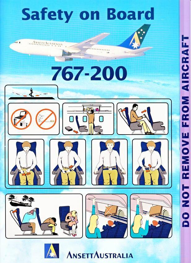 Ansett Australia 767-200 safety card