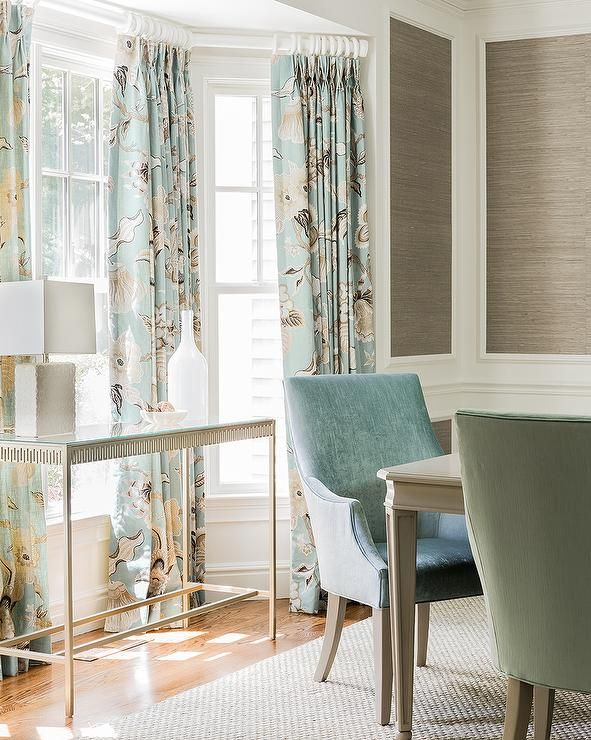 Taupe And Blue Dining Room Features Stacked Decorative Wall Moldings Filled With Grcloth Ed A Bay Window Dressed In Gray Curtains