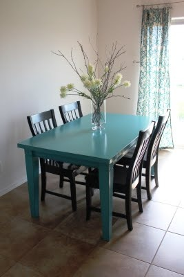 Super cute blue table black chairs for kitchen