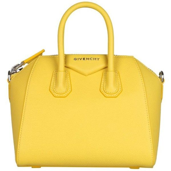 Givenchy Antigona mini leather bag ($1,808) ❤ liked on Polyvore featuring bags, handbags, shoulder bags, yellow, real leather purses, genuine leather shoulder bag, yellow leather handbag, mini handbags and yellow purse