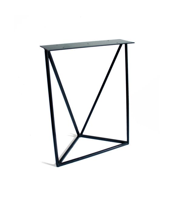 Geometrical shaped Do It Yourself Bench Leg.  17 tall, 13 1/2 wide  Available in crude steel, white paint, black paint, or write us a message