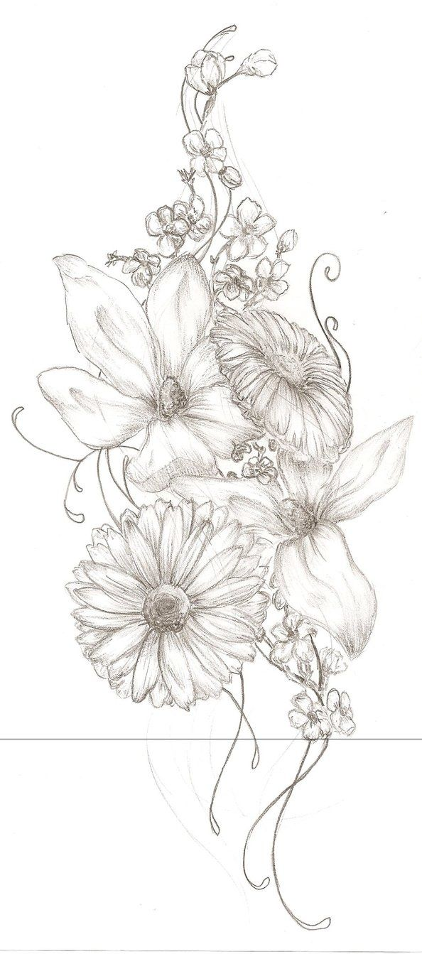 I want to get my mom, my sister, my grams and my birth flowers in a tattoo like this up under my left breast on my rib cage.