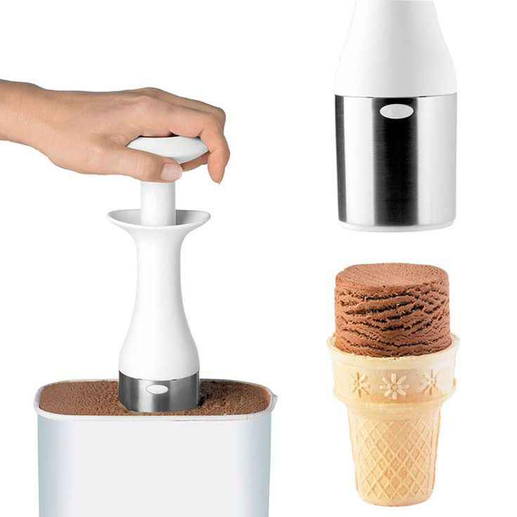 Rather than scooping out balls of ice cream, this innovative non-stick ergonomic scooper lets you dig down effortlessly into even the hardest ice cream to create cool stackable cylindrical blocks of ice cream.