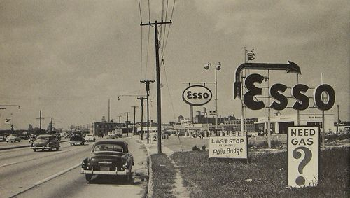 1960s Camden New Jersey ESSO and cars VINTAGE SIGNS Midcentury