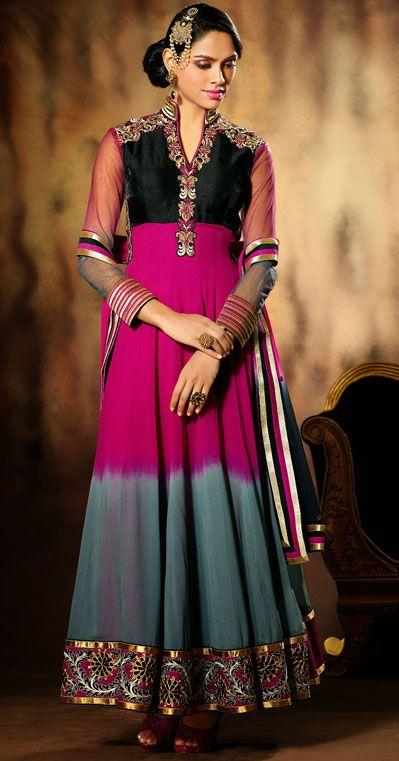 USD 55.28 Magenta Faux Georgette Ankle Length Anarkali Salwar Kameez 43017