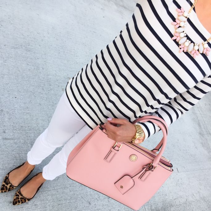 striped shirt, pink mini robinson tote, leopard flats, spring outfits, white jeans, how to wear white jeans, petite fashion blog - click the photo for outfit details,
