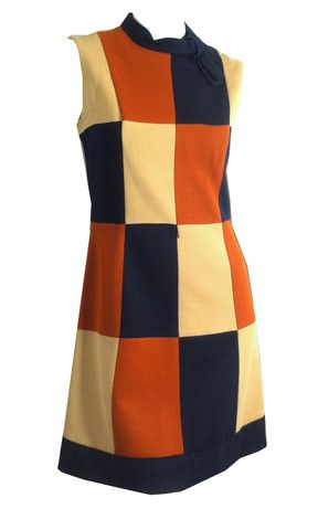 Mod Color Block Wool Knit Mini Dress circa 1960s - Dorothea's Closet Vintage