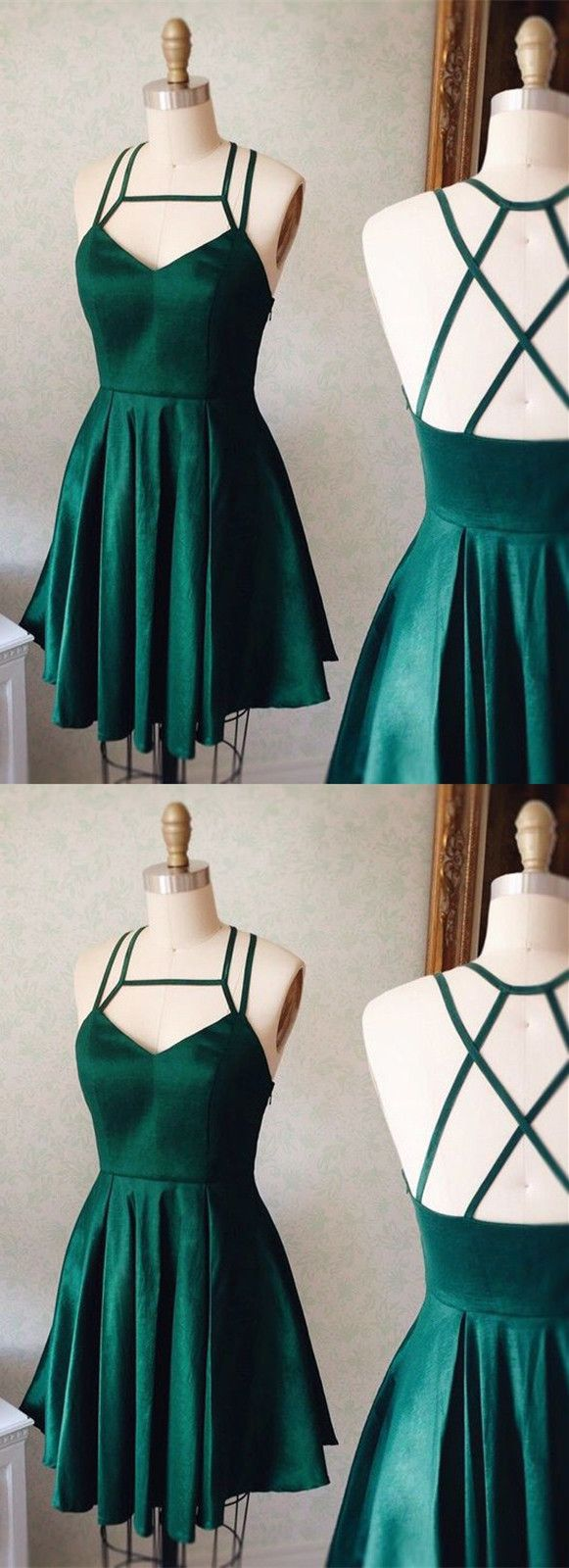 criss-cross back party dresses, cute green homecoming dreses, short semi formal dresses