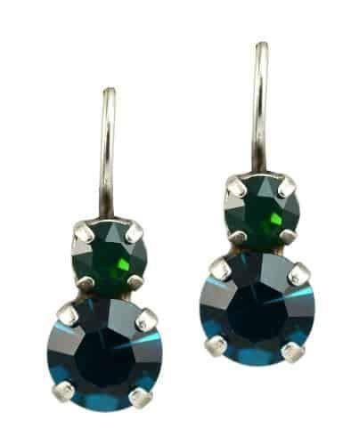 Mariana Julia Silver Plated Petite Round Swarovski Crystal Drop Earrings
