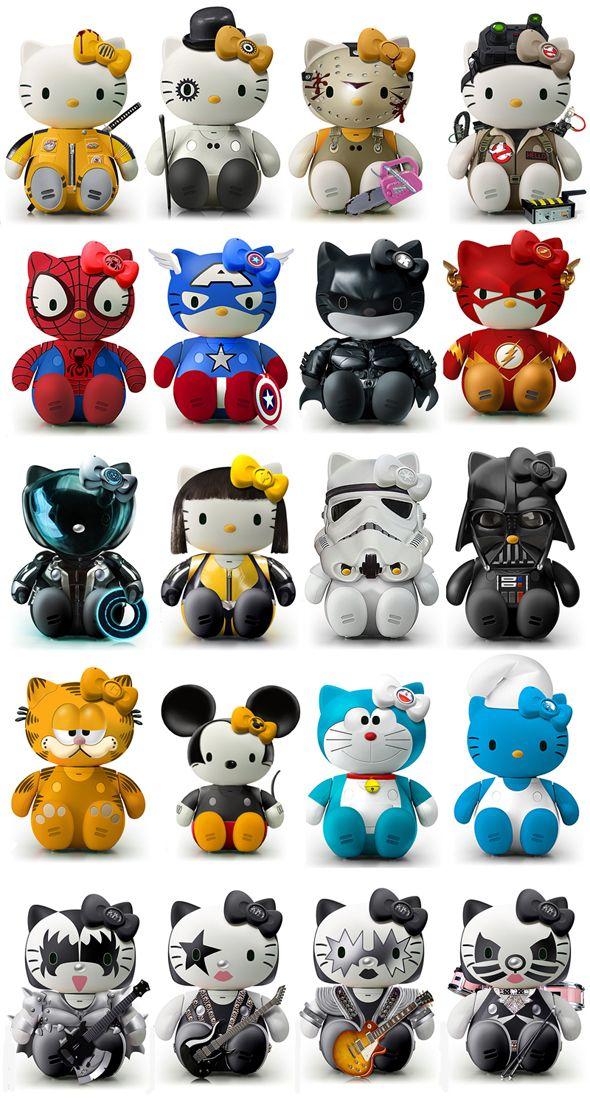 Hello Kill Bill, Clockwork Orange, Chainsaw, Ghostbusters, Spiderman, Captain America, Dark Knight, The Flash, Tron, Storm Trooper, Darth Vader, Garfield, Mickey Mouse, Smurf, KISS Kitty [Star Wars, Sanrio]