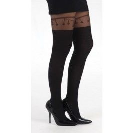 Collants Glamour Sexy Pin-Up Effet Jarretière Chainette