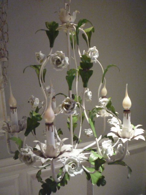 Vintage White Porcelain Rose Tole Chandelier Metal Leaves Italy Birdcage  Basket Style - 58 Best Totally Tole Images On Pinterest Dining Rooms, Beautiful
