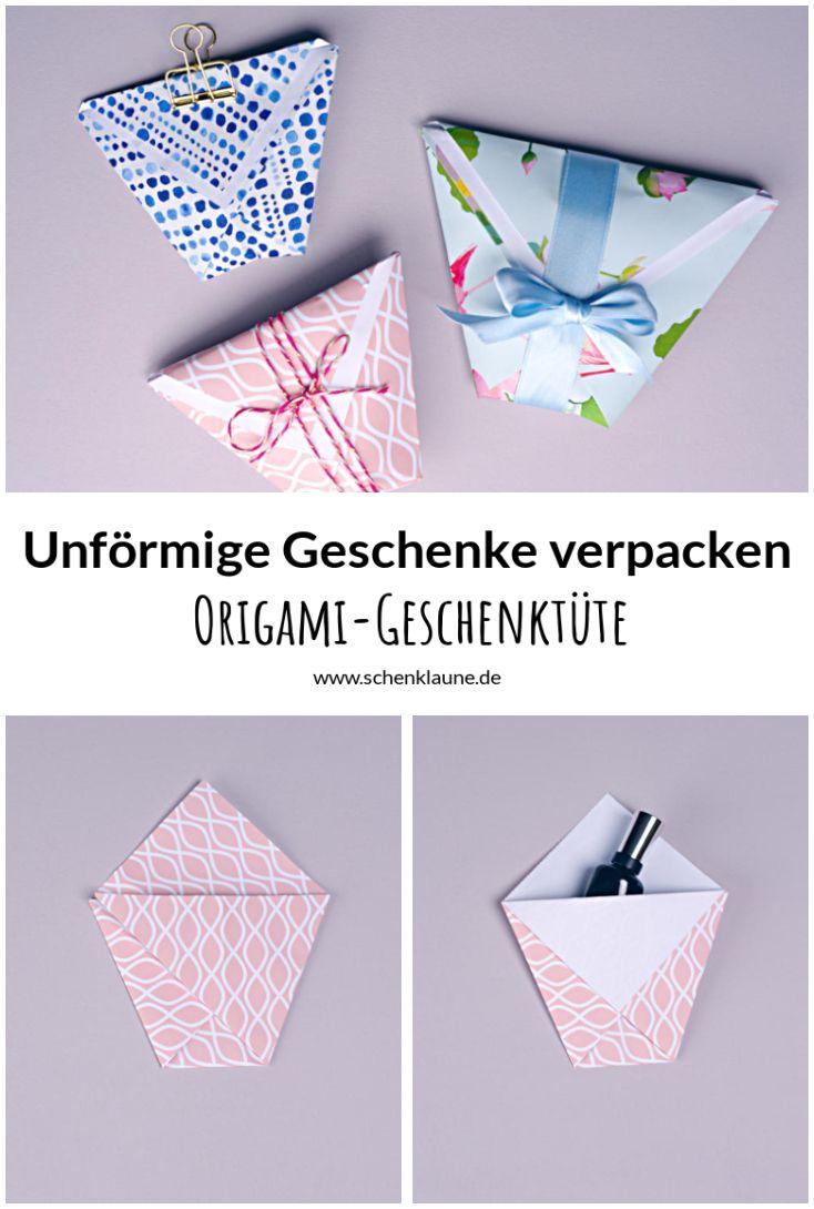 Süße Verpackungsidee für kleine oder unförmige Geschenke. Die Origami-Geschenktüte habt ihr in nur drei Schritten aus Geschenkpapier gefaltet. Und weil ihr die Größe selbst bestimmen könnt, passt sie für (fast) jedes Geschenk.