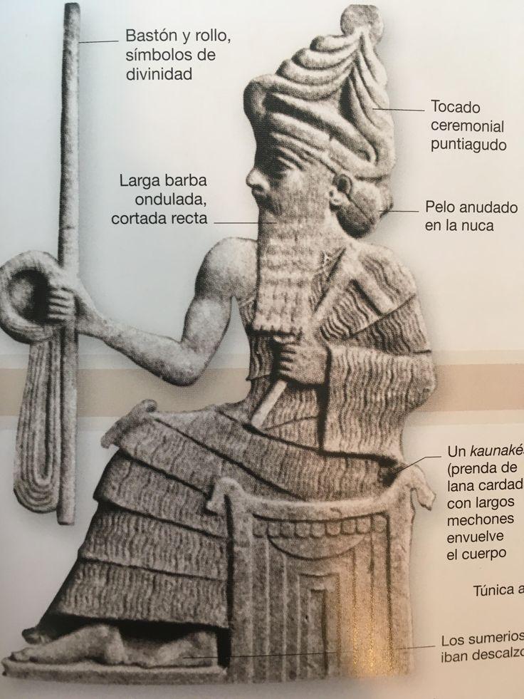 """2. MESOPOTAMIA: En Mesopotamia podemos distinguir a los sumerios, los cuales vestían con kaunakés. El kaunakés empezó siendo una simple zalea o piel de cabra u oveja con el pelo hacia fuera; luego se convirtió en una prenda tejida con vellones colocados con franjas superpuestas, similares a los volantes.  Esta prenda no era nada ceñida al cuerpo, sino más, una especie de """"falda"""" ancha que cubría las piernas."""