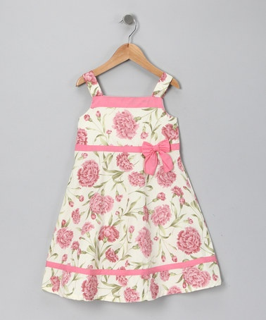 {Ivory & Coral Carnation Bow Dress} Infant, Toddler & Girls, $9.99 ... So innocent & sweet.