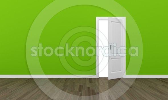 +stocknordica.com   Open door large green wall and wooden floor   www.stocknordica.com