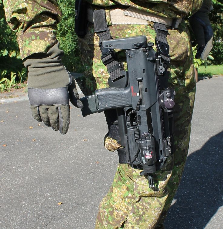 "HK MP7 thigh holster, or ""drop-leg"" rig - Drop-leg rigs should be used in conjunction with body armor, as a normal hip holster would impede or even make useless a sidearm. People who have drop-leg rigs and do not have body armor are just trying to be ""tacticool""."