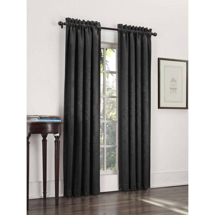 Sun Zero Blackout Ashton Black Woven Blackout Curtain